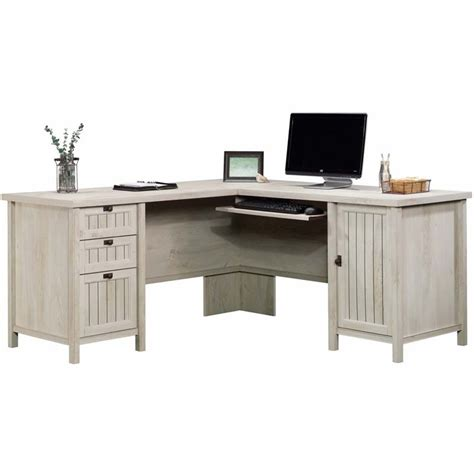 Sauder Computer Desks With Hutch Sauder Costa L Shaped Computer Desk With Hutch In Chalked Chestnut 419956 58 Kit
