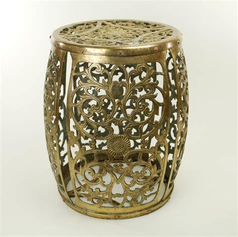 Garden Drum Stool by Vintage Pierced Brass Garden Drum Stool Side Table