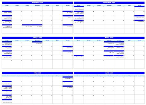 free six monthly calendar template