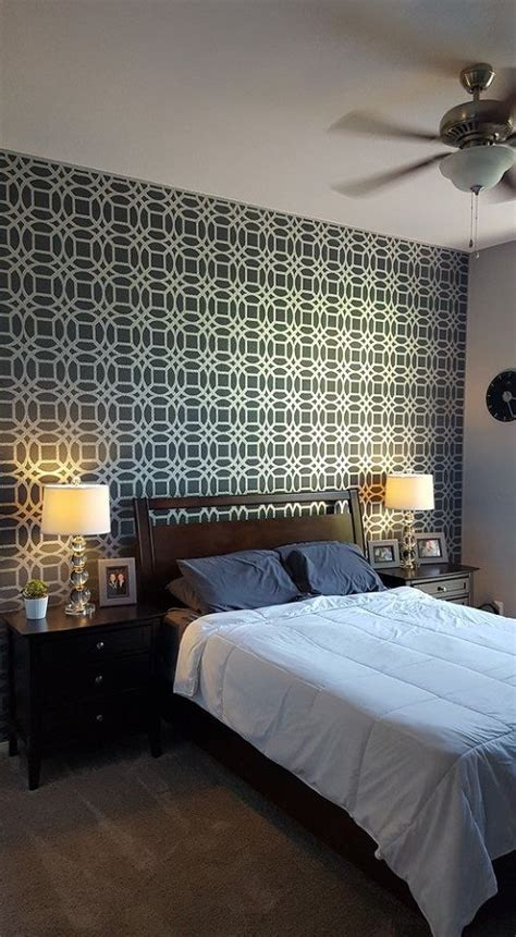 Bedroom Painting Ideas Stencils Master Bedroom Stencil Accent Wall Hometalk