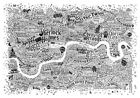 literary london a street typographic map of literary london print by run for the hills notonthehighstreet com