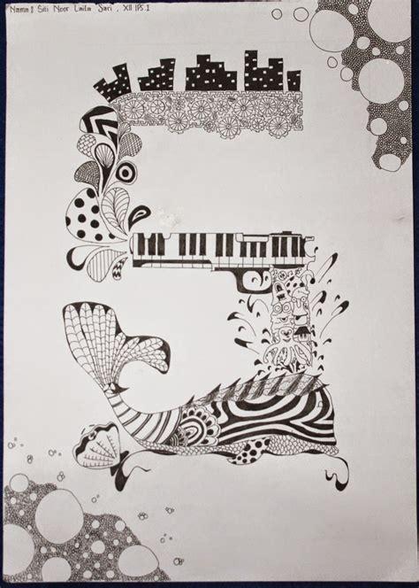 doodle huruf ganesha motif garis huruf doodle