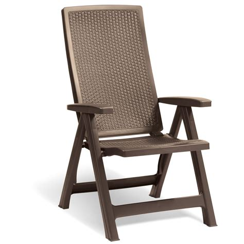 Allibert Montreal Brown Rattan Style Outdoor Reclining Reclining Dining Chair