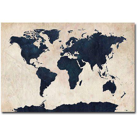 trademark art world map navy canvas wall art