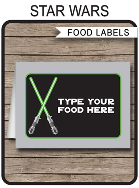 card template wars wars food labels place cards birthday