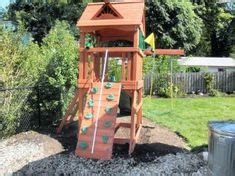 small backyard playground small space swing set idea build with sandbox that covers from anna white plans in