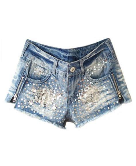 Affordable Duvet Sequin And Diamante Embellished Denim Shorts Shorts