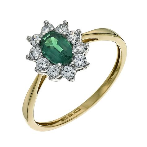 silver 9ct gold emerald cubic zirconia cluster ring