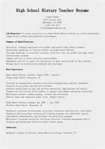 resume sles high school history resume sle