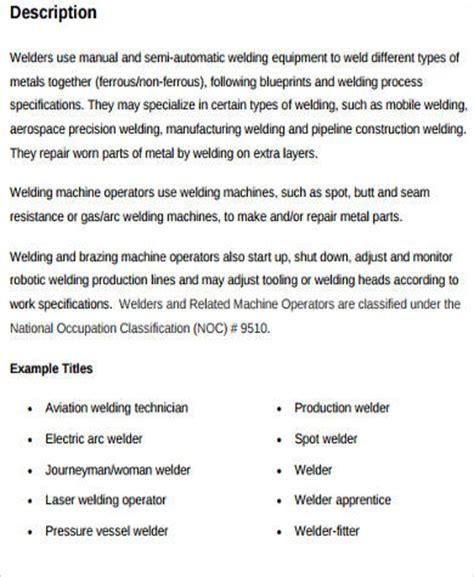 Description For Welder by Sle Welder Description 9 Exles In Word Pdf