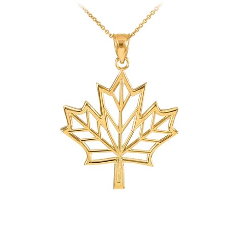 N07 Gold Pendant Necklace Leaf yellow gold open design maple leaf pendant necklace