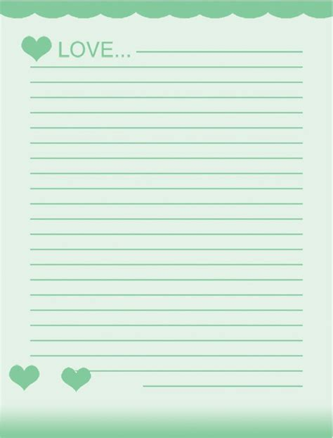 school writing paper template free school writing paper template with green hearts and