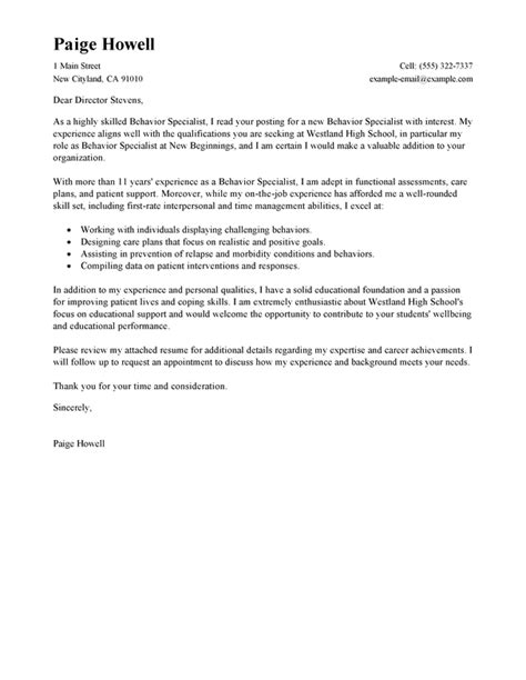 Behavior Consultant Cover Letter by Best Behavior Specialist Cover Letter Exles Livecareer