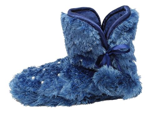 fluffy boot slippers womens fluffy fur boots bootie slippers zedzzz blue