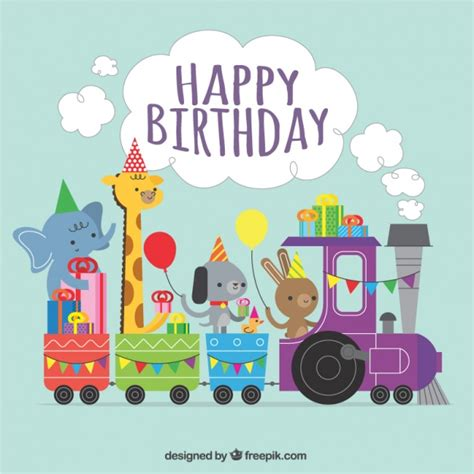 happy birthday animal stak design comboio vetores e fotos baixar gratis