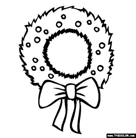 coloring pages of christmas reefs christmas wreath clipart outline clipground