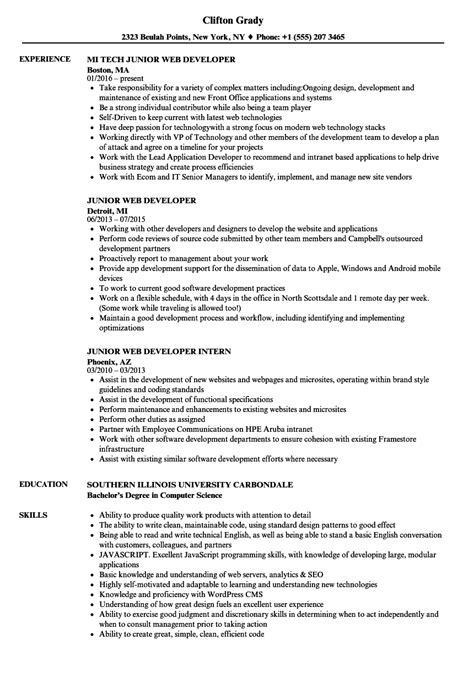 Junior Web Developer Resume by Junior Web Developer Resume Sles Velvet
