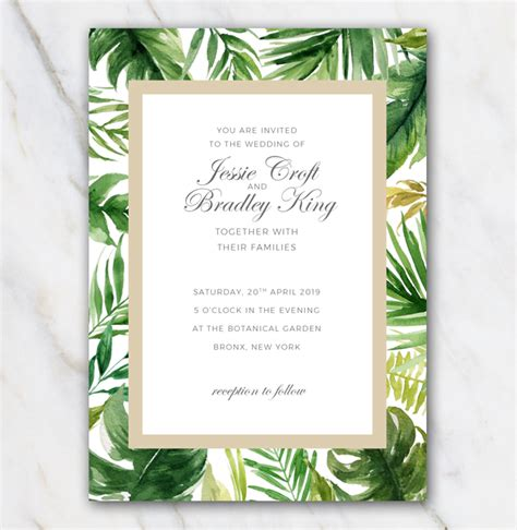 Palm Card Template Photoshop by Winter Invitation Templates Free Tropical Palm Tree Leaves