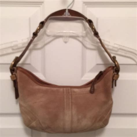 Coach Karee Leather Purse by Coach Beige Gold Suede Leather Soho Hobo Bag Tradesy
