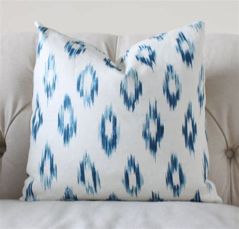 Ikat Pillow Cover blue ikat pillow cover blue linen throw pillow schumacher