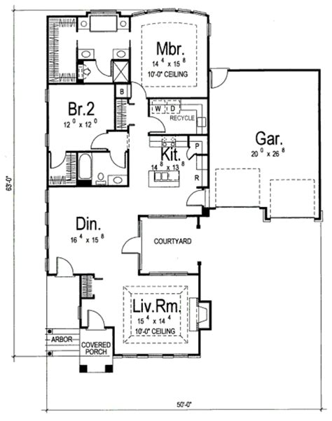 european style house plan 2 beds 2 baths 1586 sq ft plan