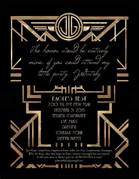 great gatsby invitation template great gatsby new years invitations new year