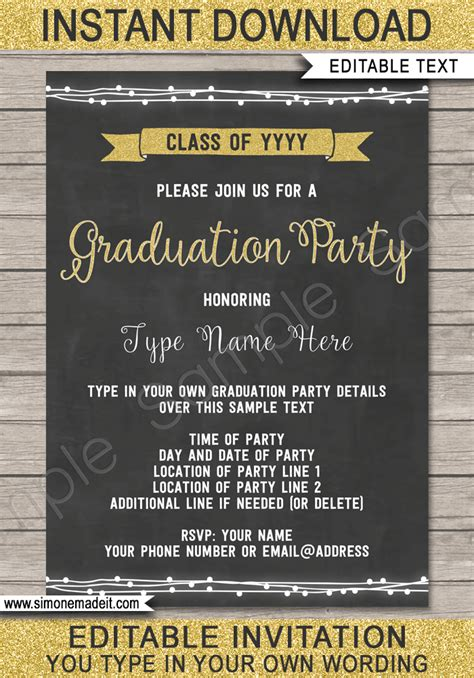 graduation party invitations printable high school