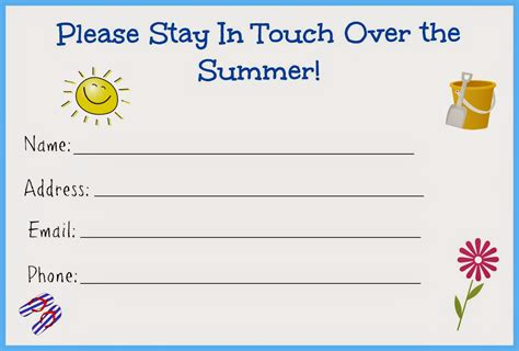 keep in touch card template stay in touch the summer card for free