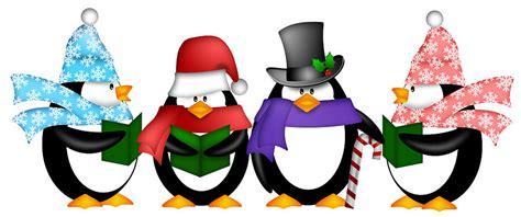 penguins singing christmas carol cartoon clipart digital