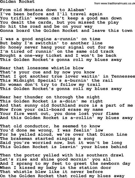 song lyrics willie nelson willie nelson song golden rocket lyrics