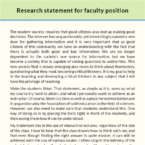 Research For Biology Faculty Template Faculty Position Research Statement Sle Edocr