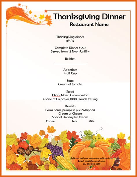 free thanksgiving menu templates thanksgiving menu template apa exles