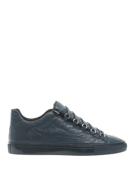 blue balenciaga arena sneakers balenciaga arena low top leather trainers in blue for