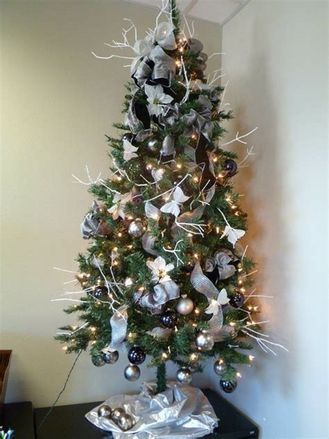 black silver gray and white decorated christmas tree