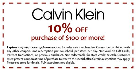 printable calvin klein outlet coupons coupons available for use at freeport village station