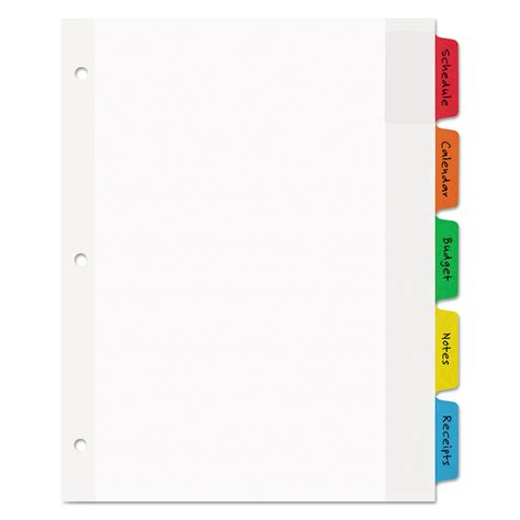 color dividers movable tab dividers with color tabs by avery 174 ave16750