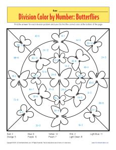 color by number division color by number butterflies printable division worksheets