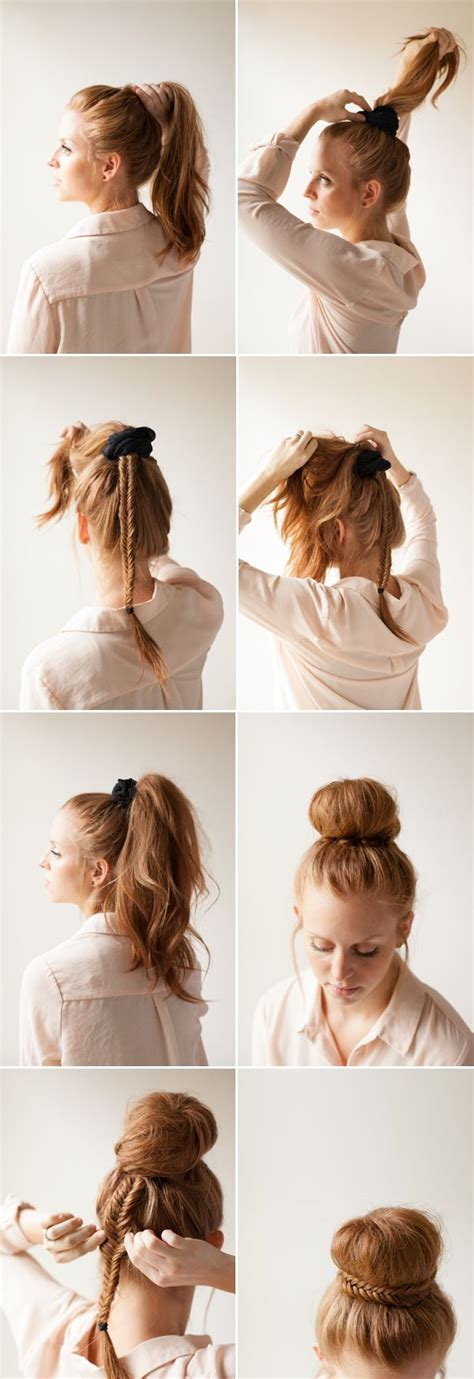 diy sock bun for hair diy fishtail bun wedding updos updo wedding and
