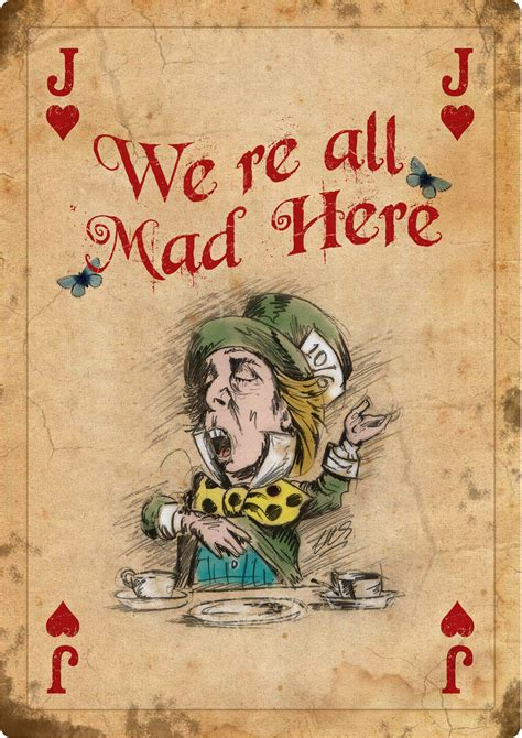 4 alice in wonderland giant vintage playing cards mad