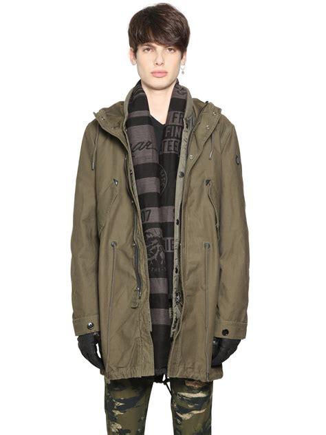 Jacket Parka Bahan Canvas diesel canvas parka padded jacket in for lyst