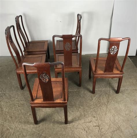 set   asian modern solid rosewood dining chairs