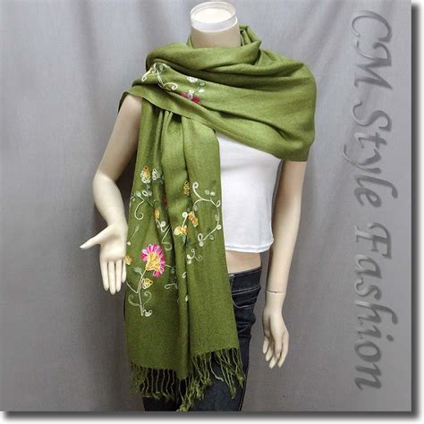 scarf draping styles chic floral embroidery scarf drape shawl green os ebay