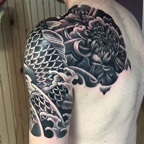 Black Koi And Chrysanthemum Japanese Tattoo By George Black Koi Cover Up