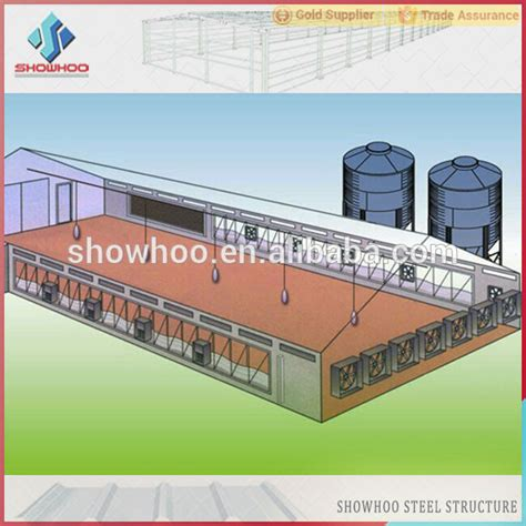 Controlled Poultry Sheds Design by China Light Steel Prefab Controlled Broiler Poultry Farm
