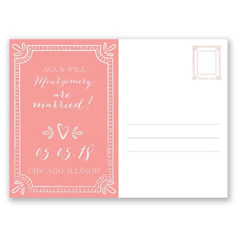 Wedding Announcements Postcards by Charming Frame Wedding Announcement Postcard Invitations