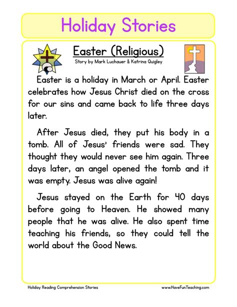 grade 2 reading comprehension christmas christian easter reading comprehension worksheet