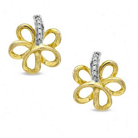 Flower Accent Earrings accent flower stud earrings in sterling silver and