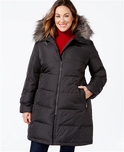 Quilted Plus Size Coats by Calvin Klein Plus Size Hooded Faux Fur Trim Quilted Puffer Coat In Gray Lyst