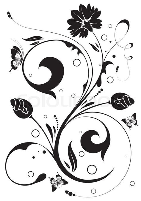 illustrator tutorial floral swirl ornaments butterfly flower ornament with butterfly element for design vector