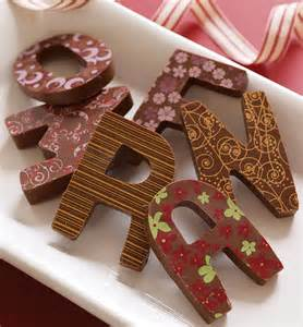 patterned milk chocolate letter by choklet